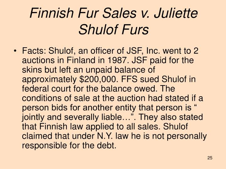 Finnish Fur Sales v. Juliette Shulof Furs