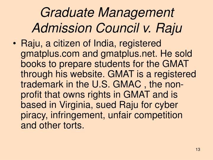 Graduate Management Admission Council v. Raju