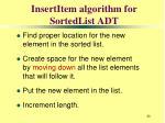 insertitem algorithm for sortedlist adt