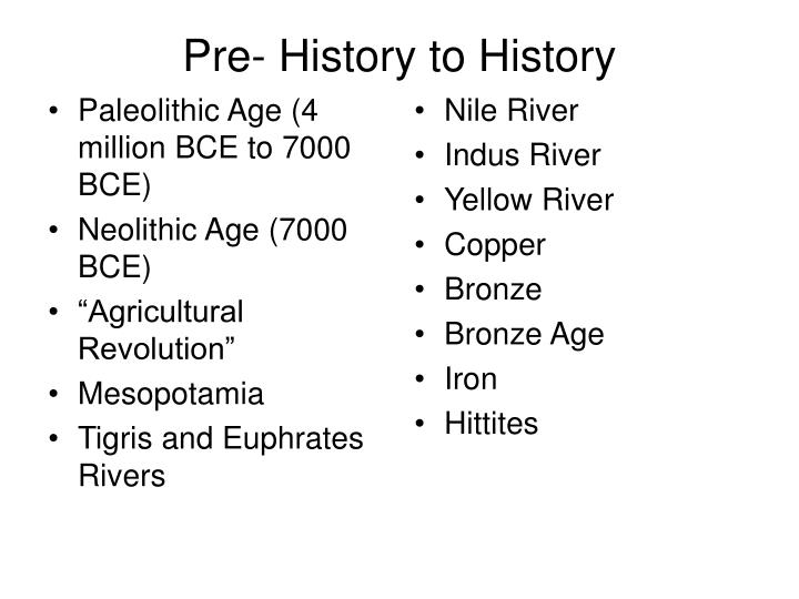 pre history to history n.