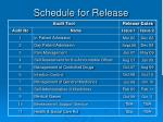 schedule for release