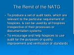 the remit of the natg