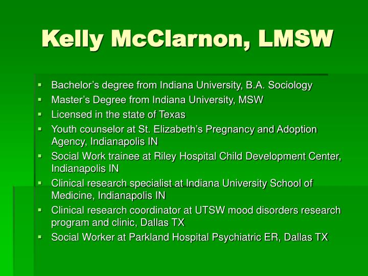 Kelly mcclarnon lmsw