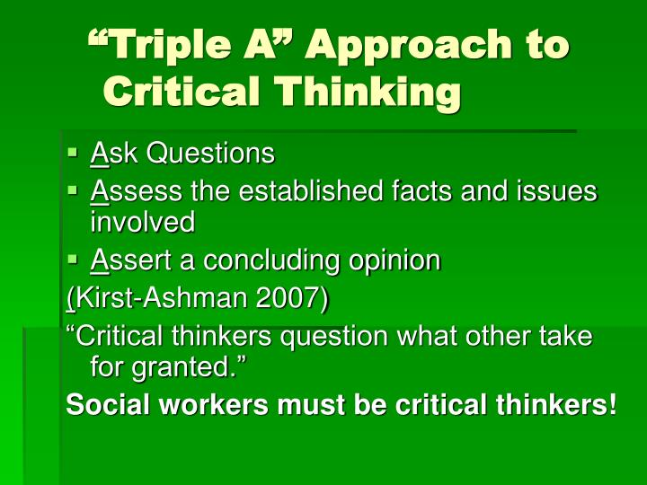 """""""Triple A"""" Approach to Critical Thinking"""