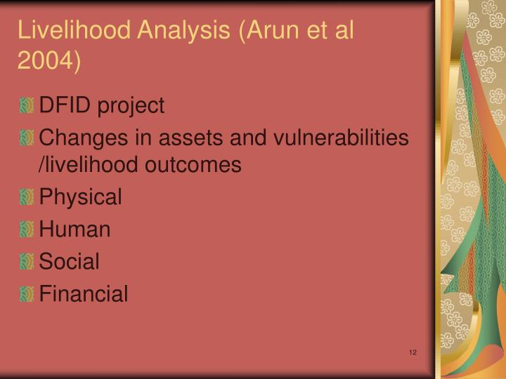 Livelihood Analysis (Arun et al 2004)