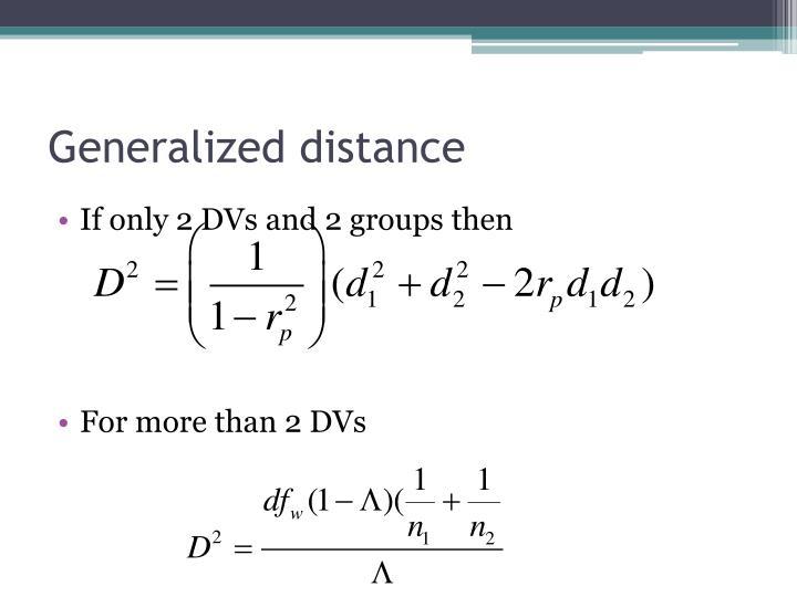 Generalized distance