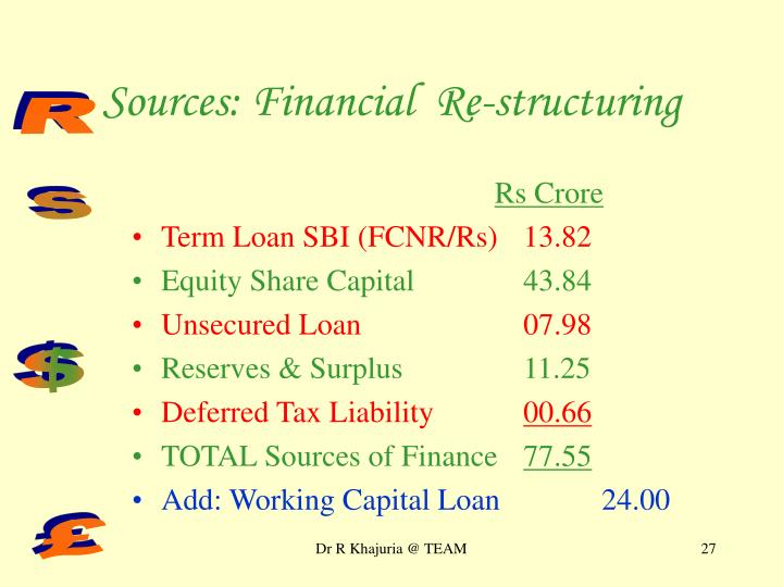 Sources: Financial  Re-structuring