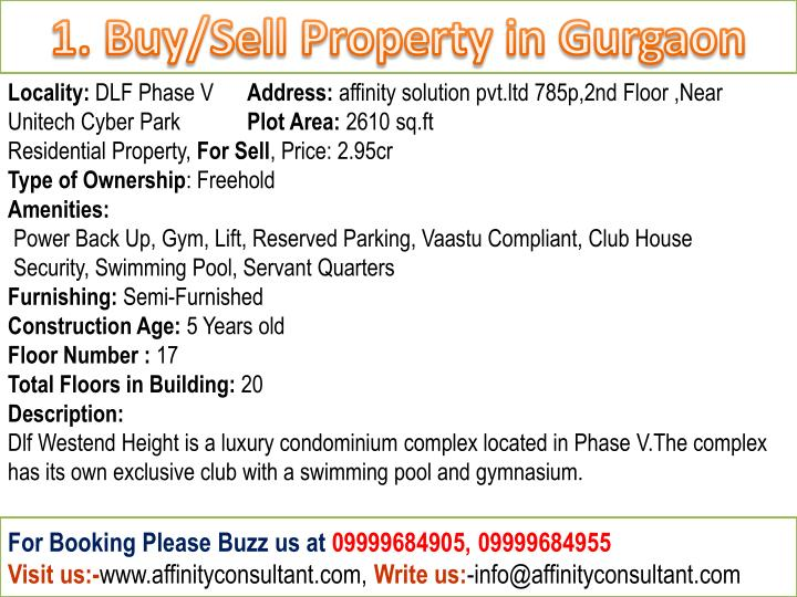 1. Buy/Sell Property in Gurgaon