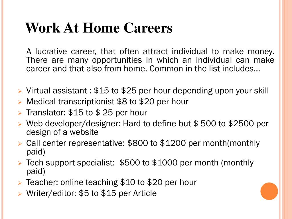 Work At Home Careers