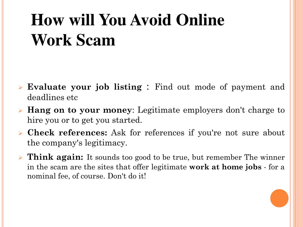 How will You Avoid Online Work Scam