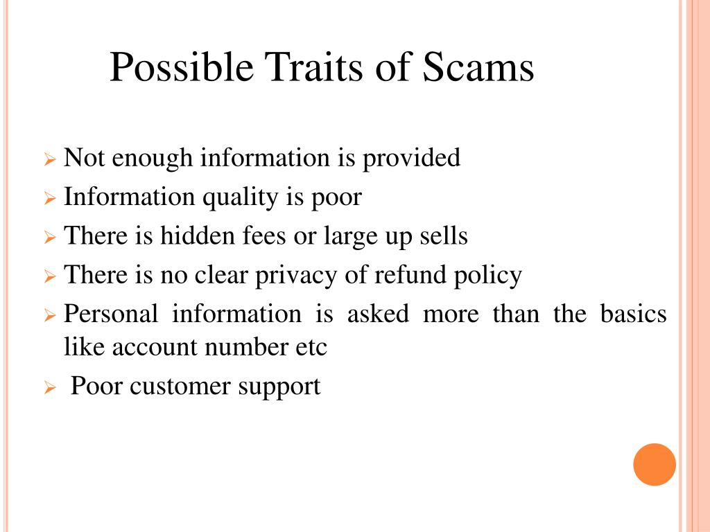 Possible Traits of Scams