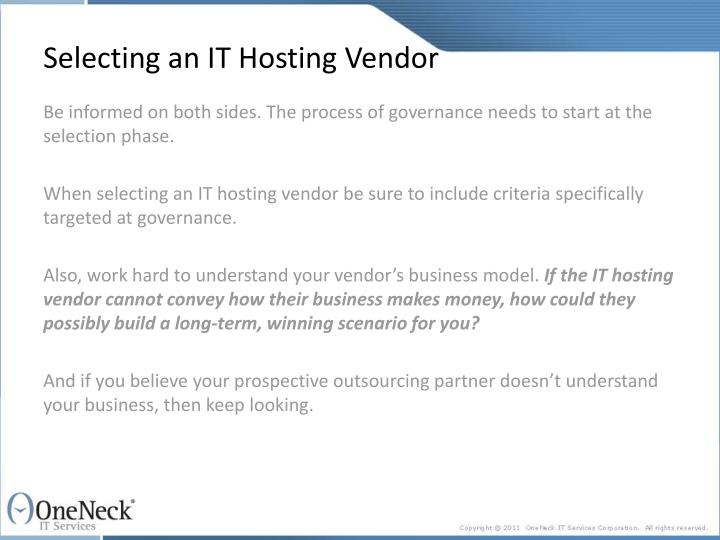 Selecting an it hosting vendor