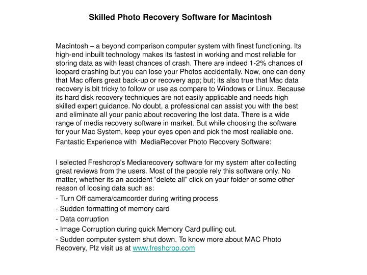 skilled photo recovery software for macintosh n.