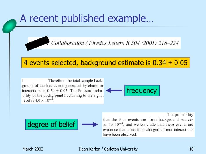 A recent published example…