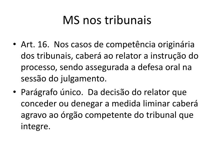 MS nos tribunais