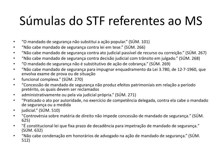 Súmulas do STF referentes ao MS
