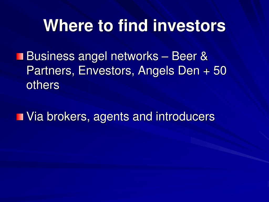 Where to find investors