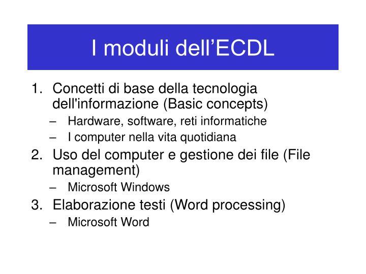 I moduli dell ecdl