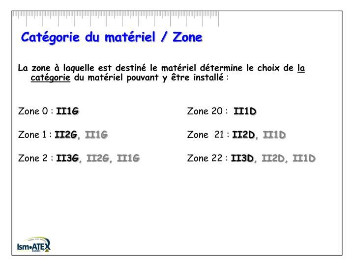 Catégorie du matériel / Zone