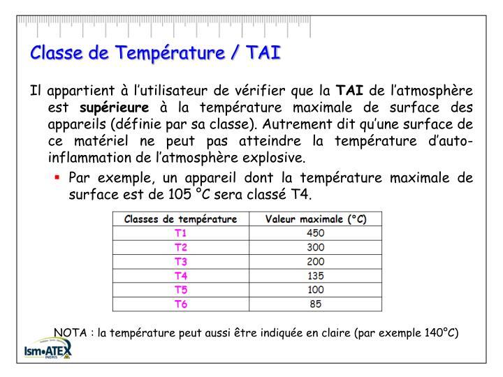 Classe de Température / TAI