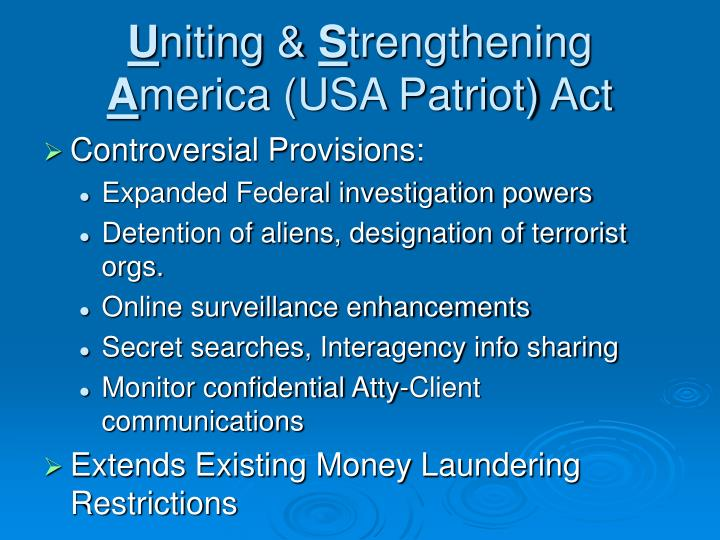 U niting s trengthening a merica usa patriot act