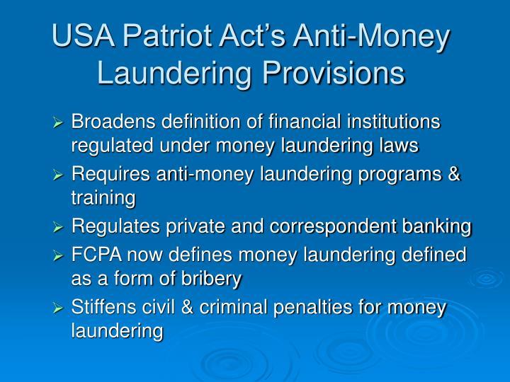 USA Patriot Act's Anti-Money Laundering Provisions