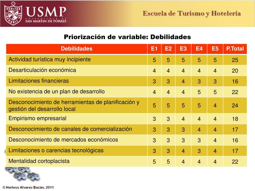 Priorización de variable: Debilidades
