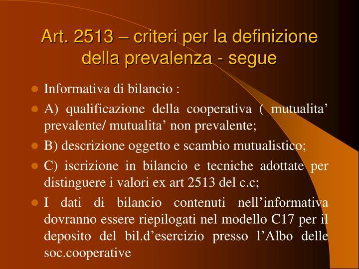Art. 2513 – criteri per la definizione della prevalenza - segue