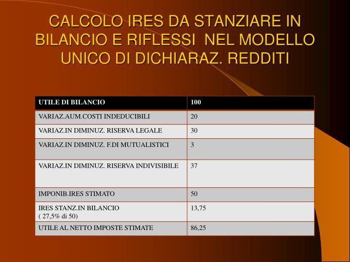 CALCOLO IRES DA STANZIARE IN BILANCIO E RIFLESSI  NEL MODELLO UNICO DI DICHIARAZ. REDDITI