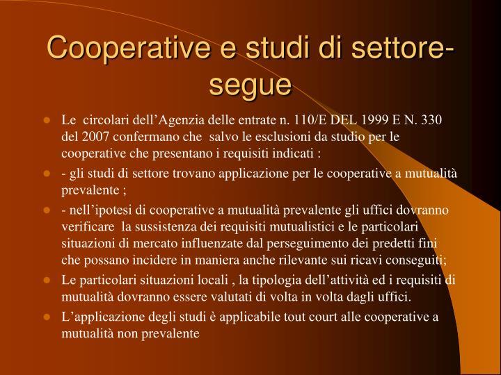 Cooperative e studi di settore- segue