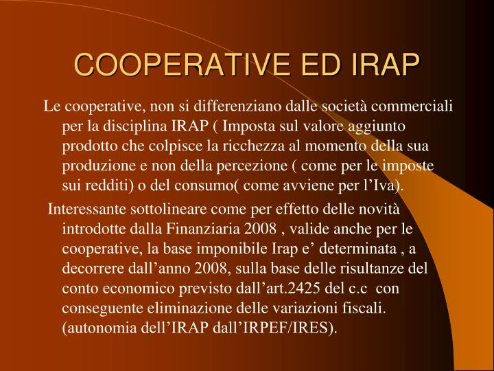 COOPERATIVE ED IRAP