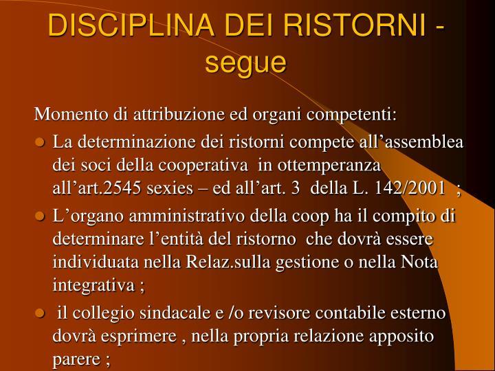 DISCIPLINA DEI RISTORNI - segue