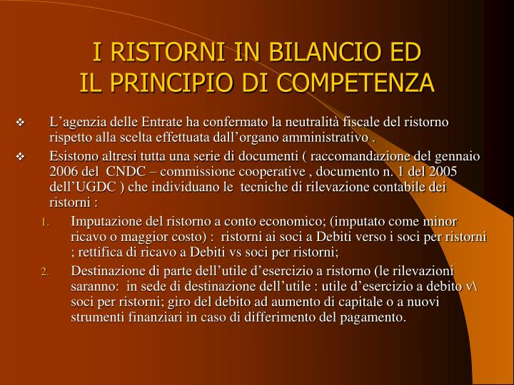 I RISTORNI IN BILANCIO ED