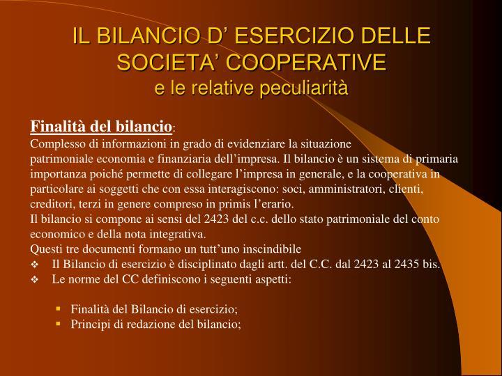 IL BILANCIO D' ESERCIZIO DELLE SOCIETA' COOPERATIVE