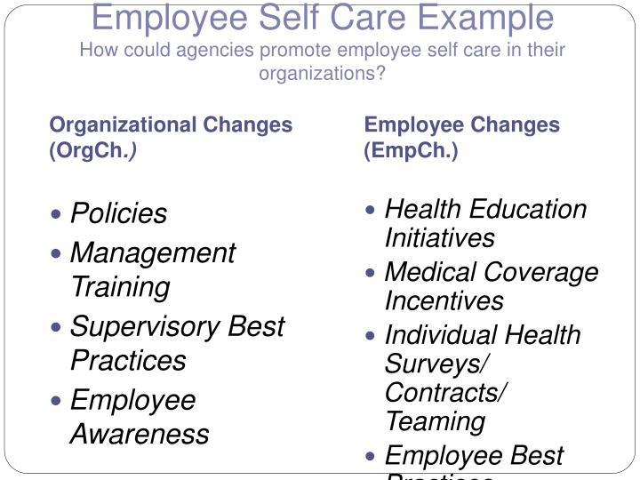 Employee Self Care Example