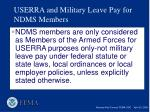userra and military leave pay for ndms members