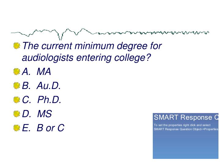 The current minimum degree for audiologists entering college?