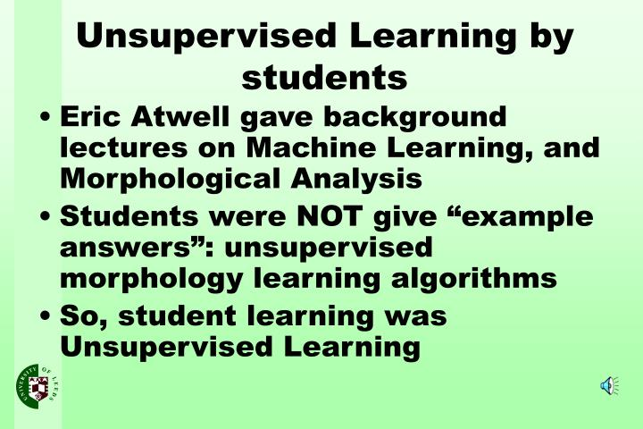 Eric Atwell gave background lectures on Machine Learning, and Morphological Analysis