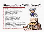 slang of the wild west