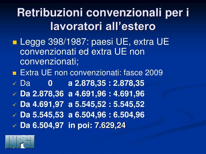 Retribuzioni convenzionali per i lavoratori all'estero
