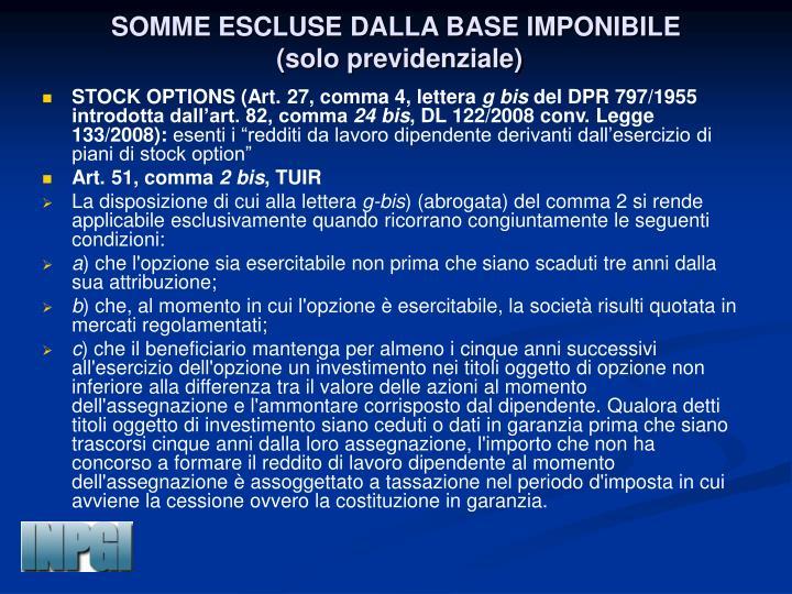 SOMME ESCLUSE DALLA BASE IMPONIBILE