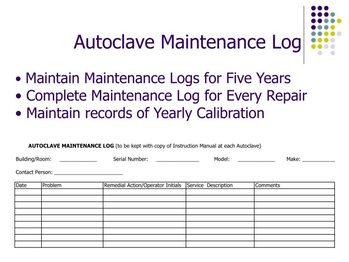 Autoclave Maintenance Log