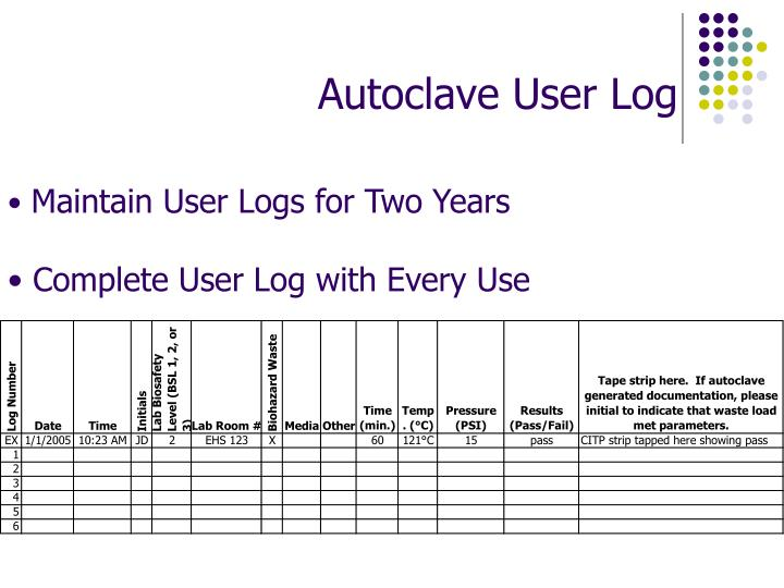 Autoclave User Log