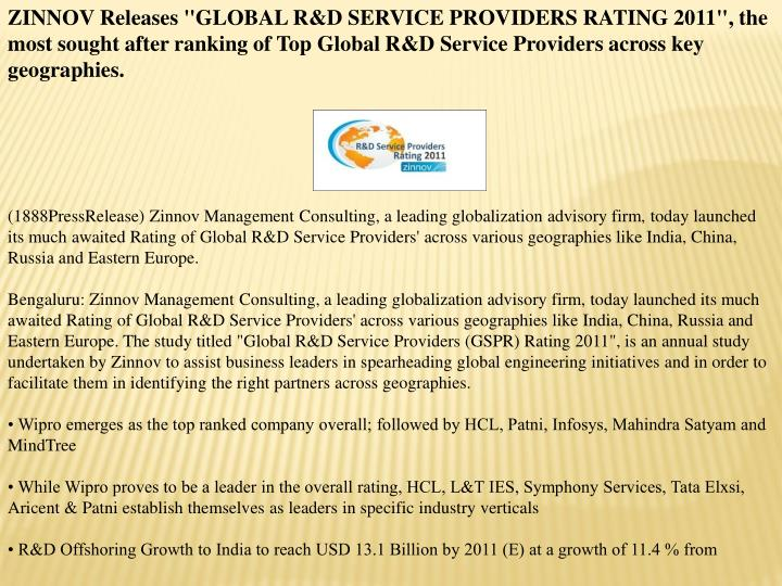 "ZINNOV Releases ""GLOBAL R&D SERVICE PROVIDERS RATING 2011"", the most sought after ranking of Top Glo..."