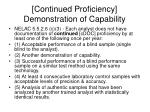 continued proficiency demonstration of capability