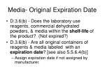media original expiration date
