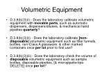 volumetric equipment
