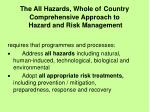 the all hazards whole of country comprehensive approach to hazard and risk management