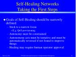 self healing networks taking the first steps