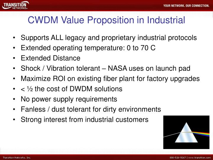 CWDM Value Proposition in Industrial